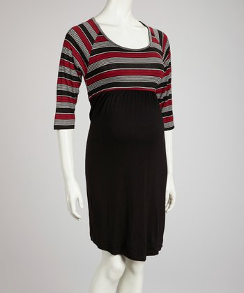 Red & Black Stripe Maternity Dress - Women