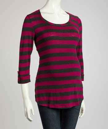Fuchsia & Charcoal Maternity Three-Quarter Sleeve Top - Women