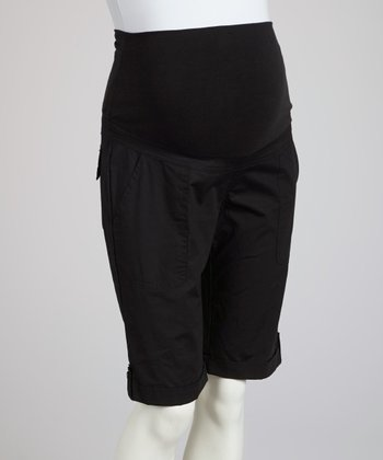 Black Over-Belly Maternity Bermuda Shorts
