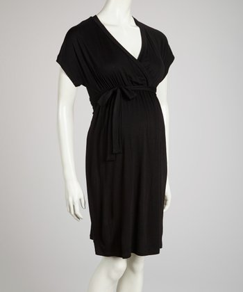 Black Solid Maternity Surplice Dress - Women