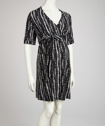 Black & White Maternity Surplice Dress