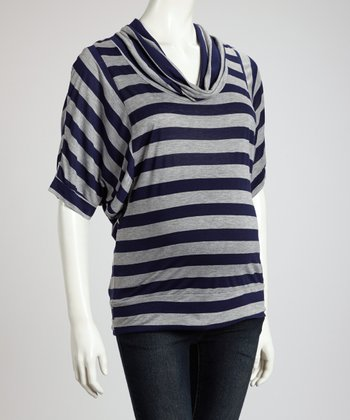 Navy & Heather Gray Maternity Cowl Neck Top - Women