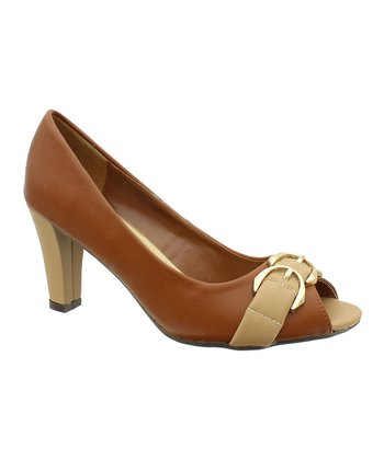 Tan & Brown Cancice 3 Peep-Toe Pump
