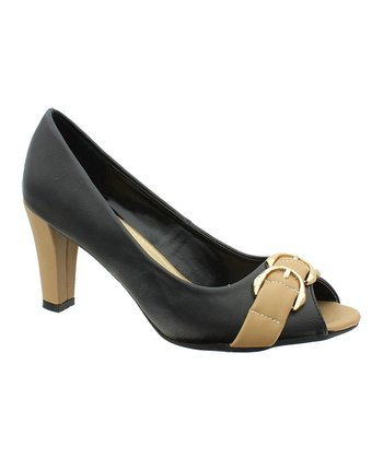 Black & Beige Cancice 3 Peep-Toe Pump