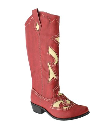 Red & Cream Cowgirl-4 Boot