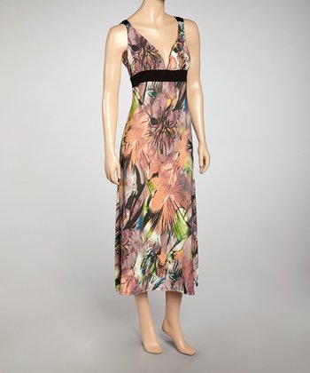 Orange Abstract V-Neck Maxi Dress - Women
