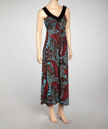 Red Paisley V-Neck Maxi Dress - Women