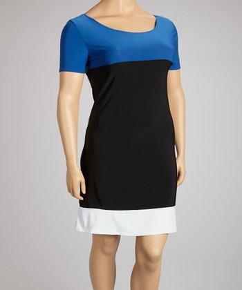 Black & Blue Color Block Dress - Plus