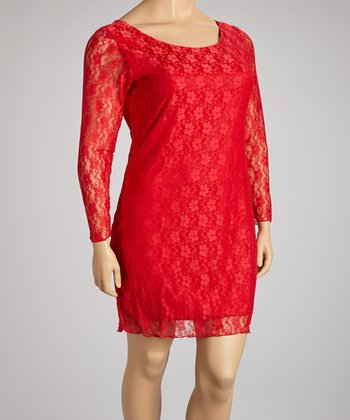 Red Lace Long-Sleeve Dress - Plus