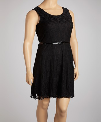 Black Lace Belted Dress - Plus
