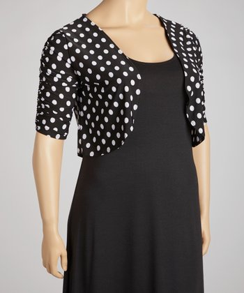 Black & White Polka Dot Bolero - Plus