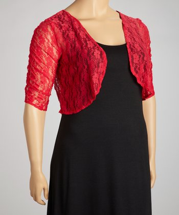 Red Lace Shrug - Plus