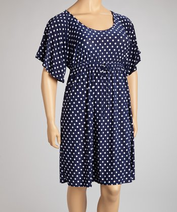 Navy & White Polka Dot Dress - Plus