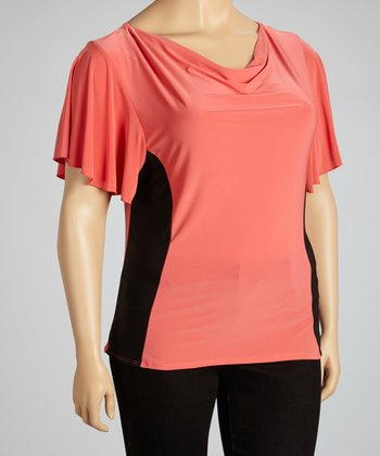 Coral & Black Color Block Drape Top - Plus