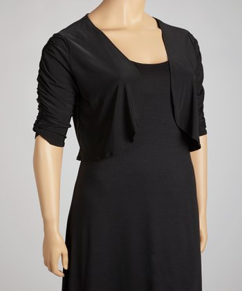 Black Ruched Open Cardigan - Plus