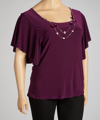 Plum Necklace Cape-Sleeve Top - Plus