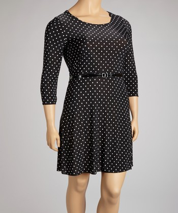 Black & White Polka Dot Belted Three-Quarter Sleeve Dress - Plus