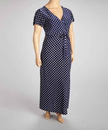 Navy & White Polka Dot Wrap Dress - Plus