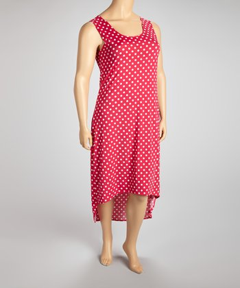 Fuchsia & White Polka Dot Hi-Low Dress  - Plus