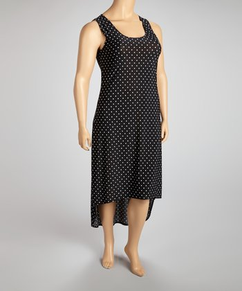Black & White Polka Dot Cutout Hi-Low Dress - Plus