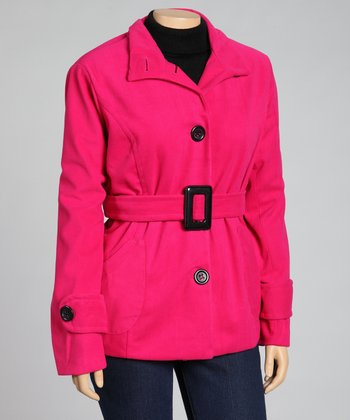 Magenta Belted Trench Coat - Plus