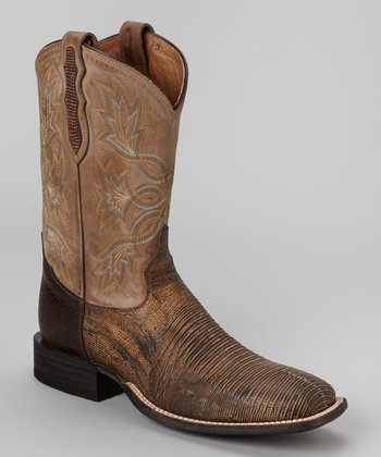 Antique Tan Tri-Tone Lizard Cowboy Boot - Men