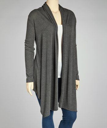 Charcoal Long Open Cardigan - Plus