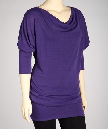 Purple Cowl Neck Tunic - Plus