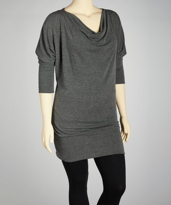 Charcoal Cowl Neck Tunic - Plus
