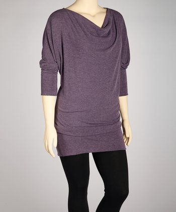 Heather Purple Cowl Neck Tunic - Plus