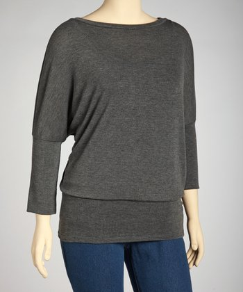 Charcoal Dolman Sweater - Plus