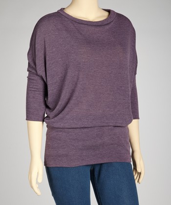 Heather Purple Dolman Sweater - Plus