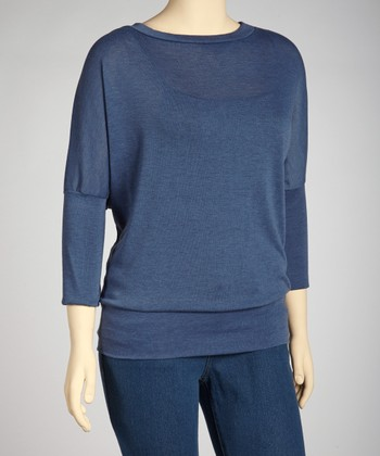 Blue Dolman Sweater - Plus