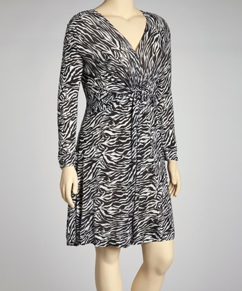 Black & White Zebra Dress - Plus