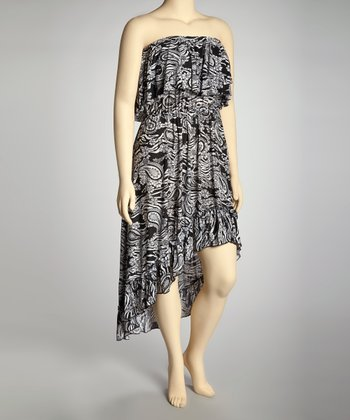 Black & White Paisley Hi-Low Dress - Plus