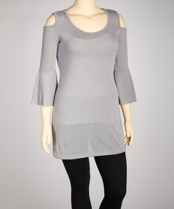 Gray Cutout Tunic - Plus