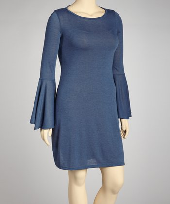 Navy Bell-Sleeve Sweater Dress - Plus