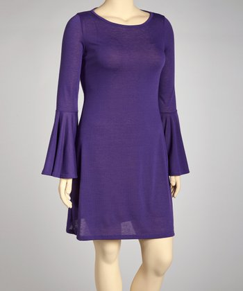 Purple Bell-Sleeve Dress - Plus