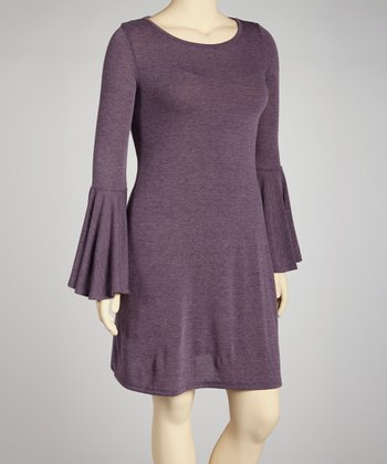Heather Purple Bell-Sleeve Sweater Dress - Plus