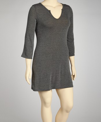Charcoal Split V-Neck Tunic - Plus