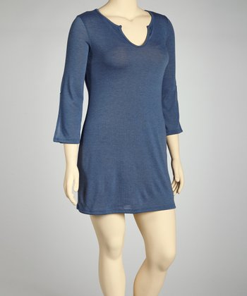 Blue Split V-Neck Tunic - Plus