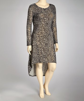 Gray Leopard Hi-Low Dress - Plus