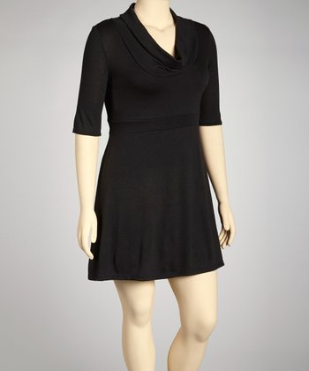 Black Cowl Neck Dress - Plus