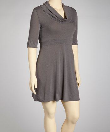 Gray Cowl Neck Dress - Plus