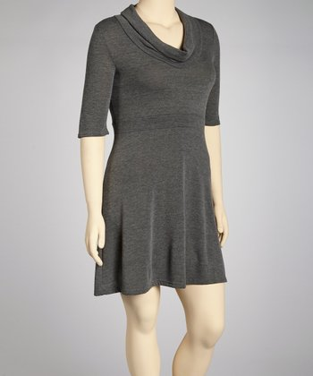 Charcoal Cowl Neck Dress - Plus