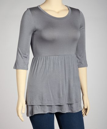 Gray Empire-Waist Tunic - Plus
