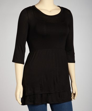 Black Empire-Waist Tunic - Plus