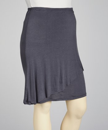 Charcoal Tiered Skirt - Plus