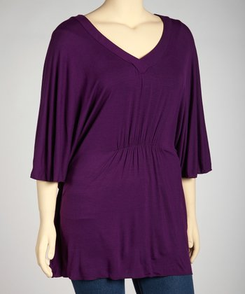 Purple Cape-Sleeve Tunic - Plus