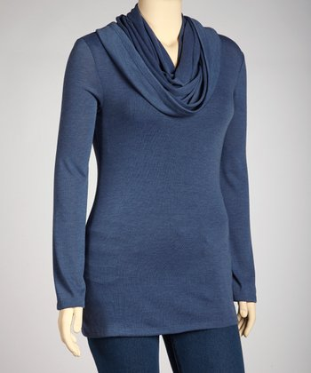 Blue Cowl Neck Sweater - Plus